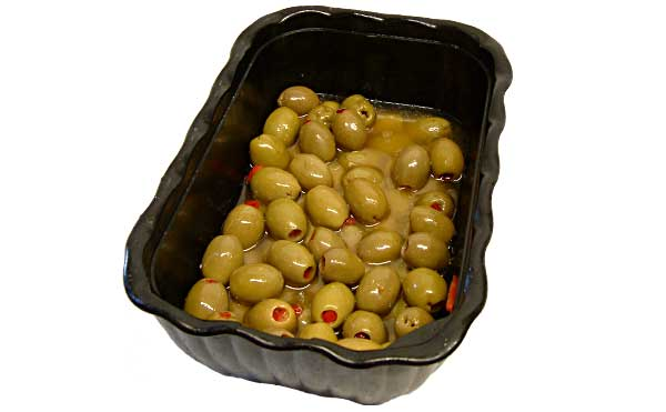 Green olives suffed with Pimentos